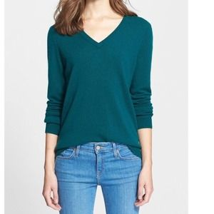 Halogen 100% Cashmere Green Sweater Medium